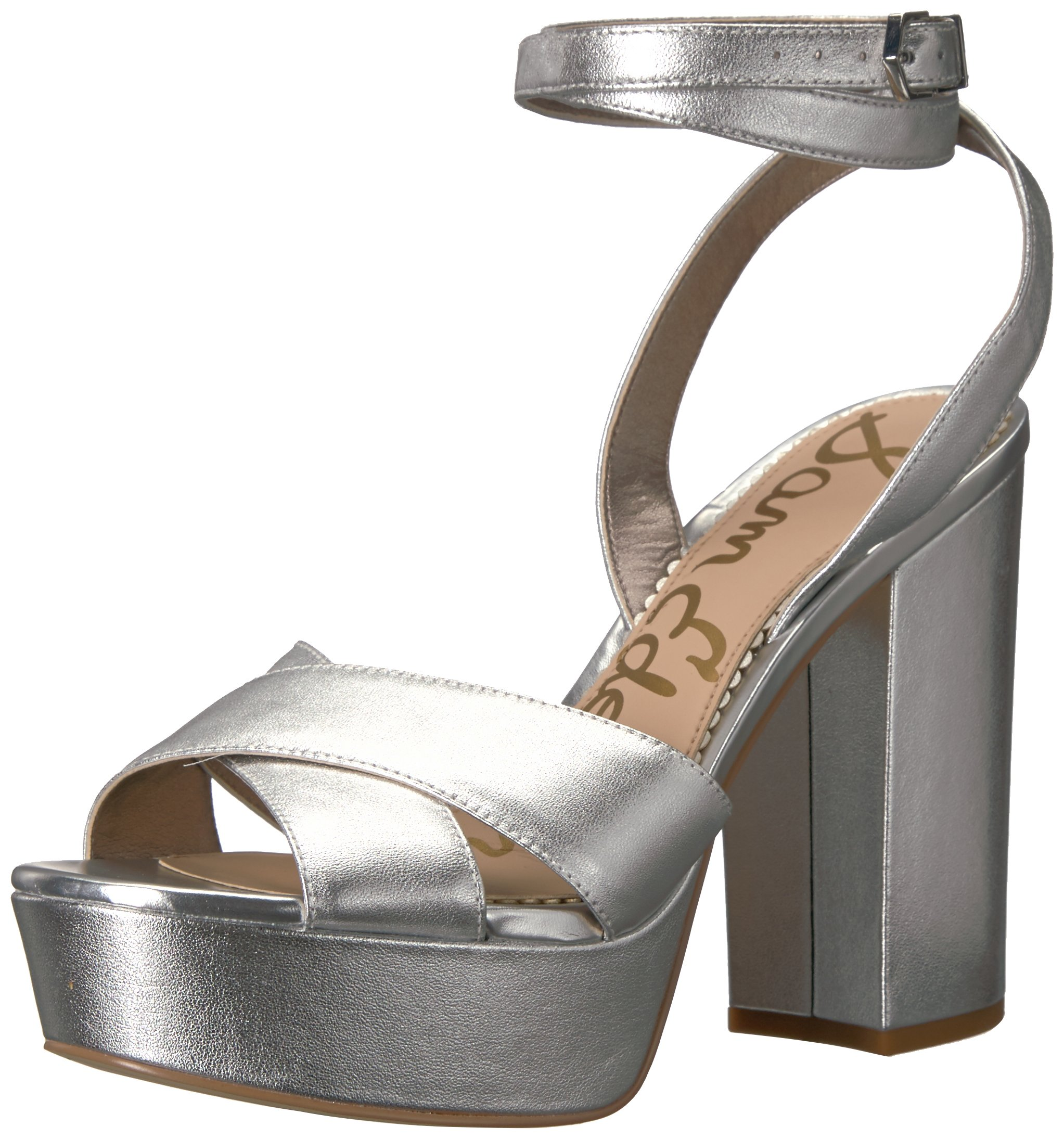 Sam Edelman Women's Mara Heeled Sandal, Soft Silver/Metallic Leather, 6.5 Medium US