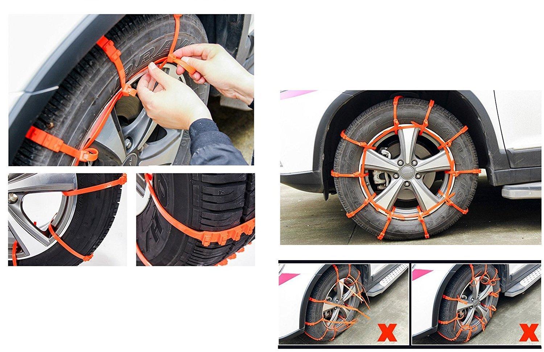 10 cadenas de nieve para el coche, antideslizantes, para colocar en el neumático con ajuste universal, ancho 175 – 295 mm.: Amazon.es: Coche y moto