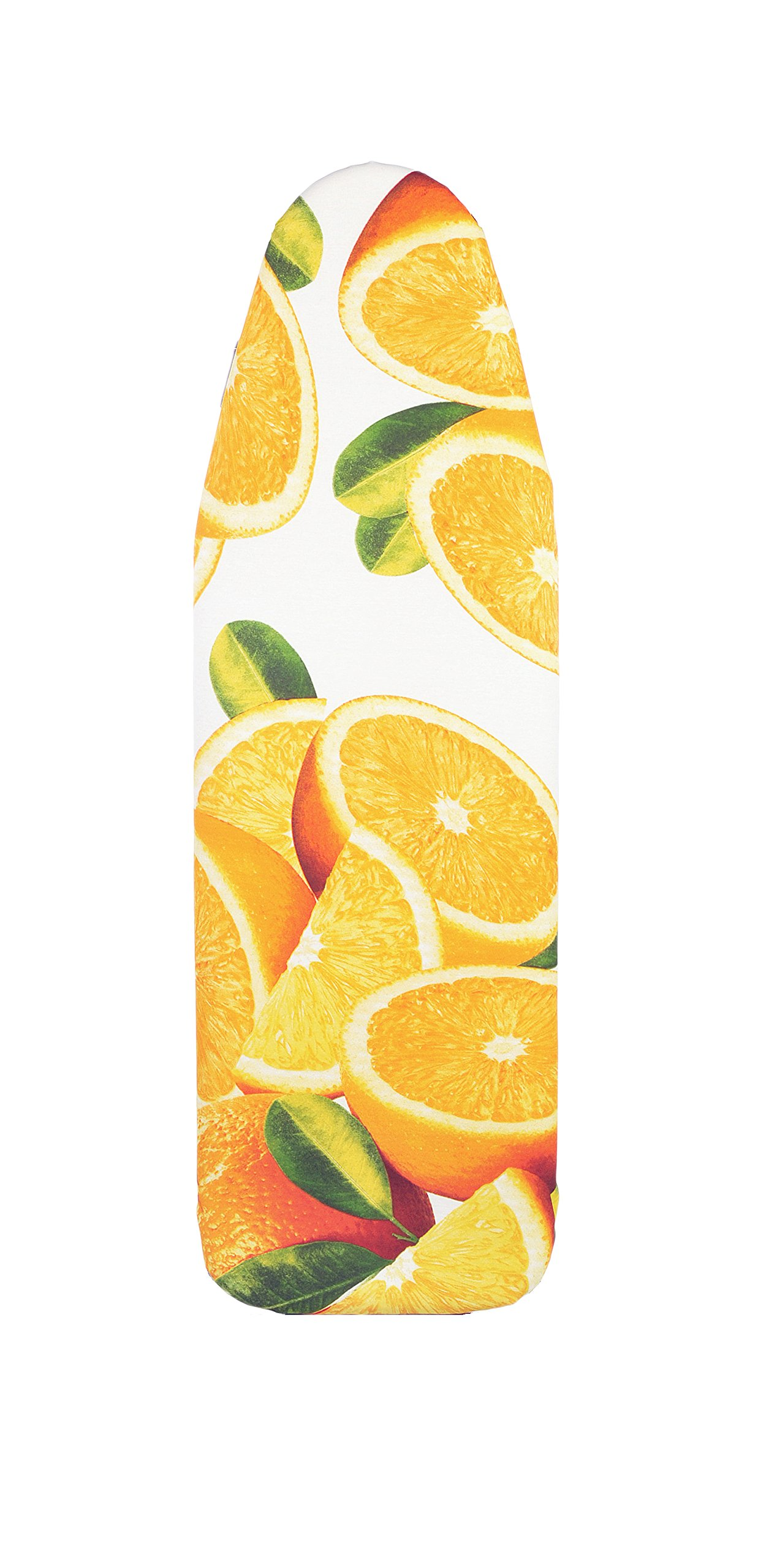 VieveMar Padded Ironing Board Cover, EASY FIT with handy DrawString, NO DYE TRANSFER! UNIQUE FRUITY DESIGN, Heat Reflective and Scorch Resistant Premium Cotton, Fits Boards up to 15'' x 54'' (Orange)