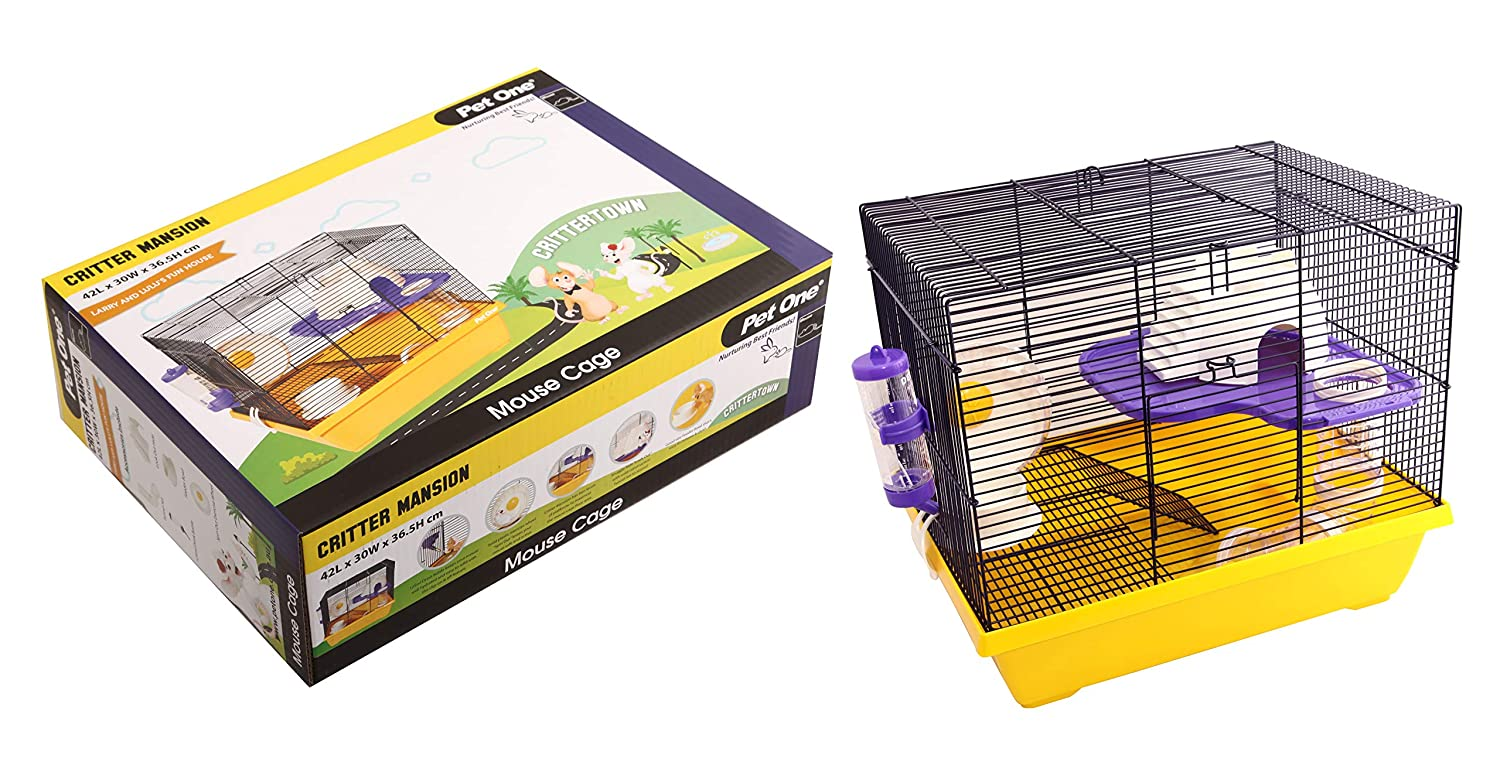 Critter Mansion Mouse Wire Cage 42L X 30W X 36.5cm H White Yellow (Pet One)