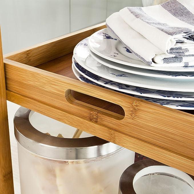 SoBuy Carrito de servir, carrito de cocina de bambú de alta calidad con Platt de mesa de cristal fkw16: Amazon.es: Hogar