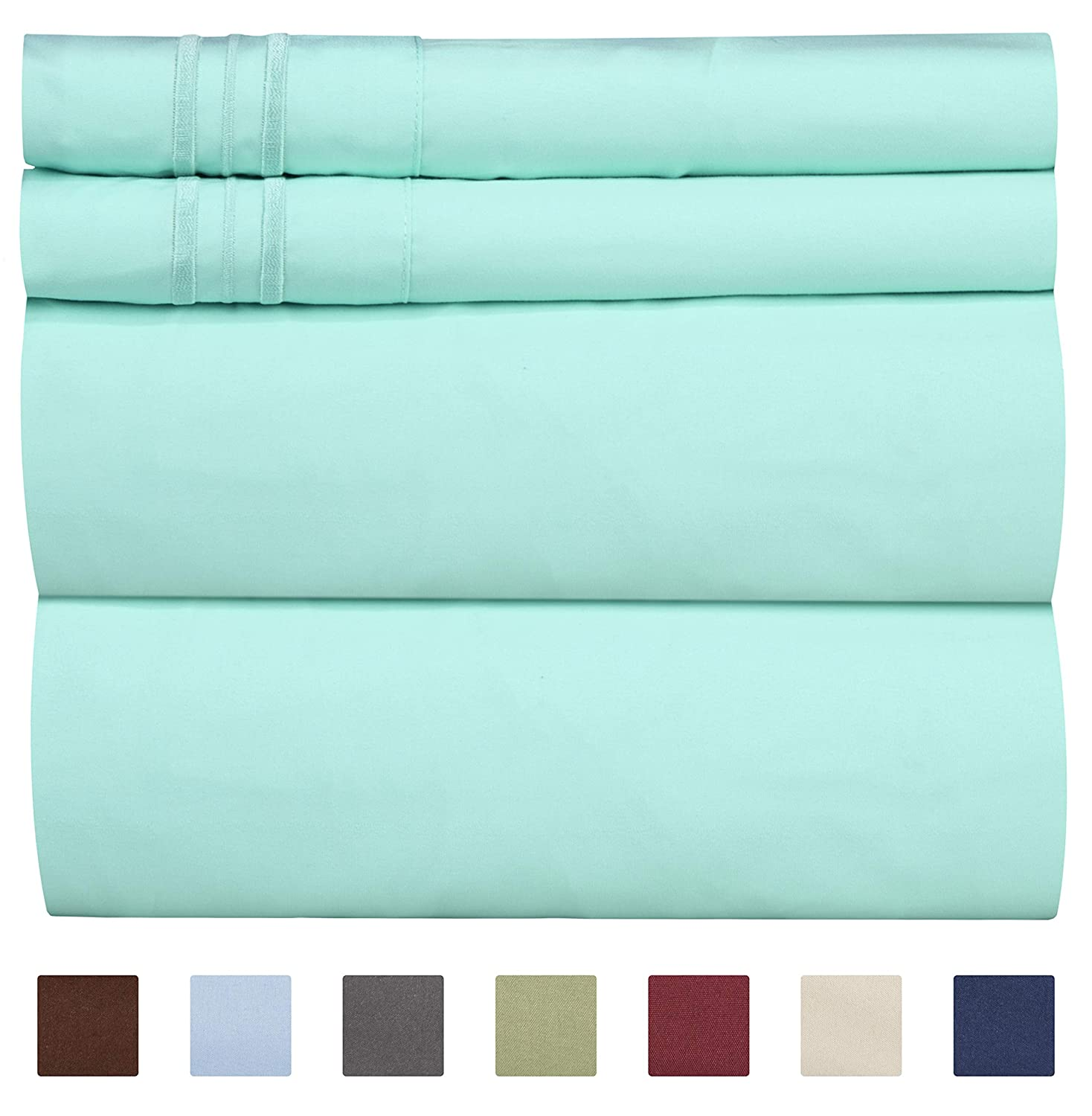 Queen Size Sheet Set - 4 Piece Set - Hotel Luxury Bed Sheets - Extra Soft - Deep Pockets - Easy Fit - Breathable & Cooling - Wrinkle Free - Comfy – Spa Blue Bed Sheets - Queens Sheets – 4 PC