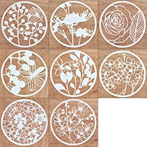 8Pcs Creative DIY Plastic Stencil Plant Flower Pattern Template Reusable Round Painting Journal Stencils for Scrapbooking