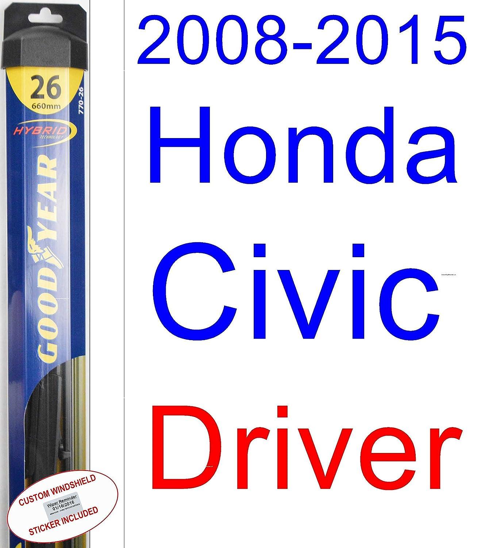 2008 - 2015 Honda Civic Sedan hoja de limpiaparabrisas de repuesto Set/Kit (Goodyear limpiaparabrisas blades-hybrid) (2009,2010,2011,2012,2013,2014): ...