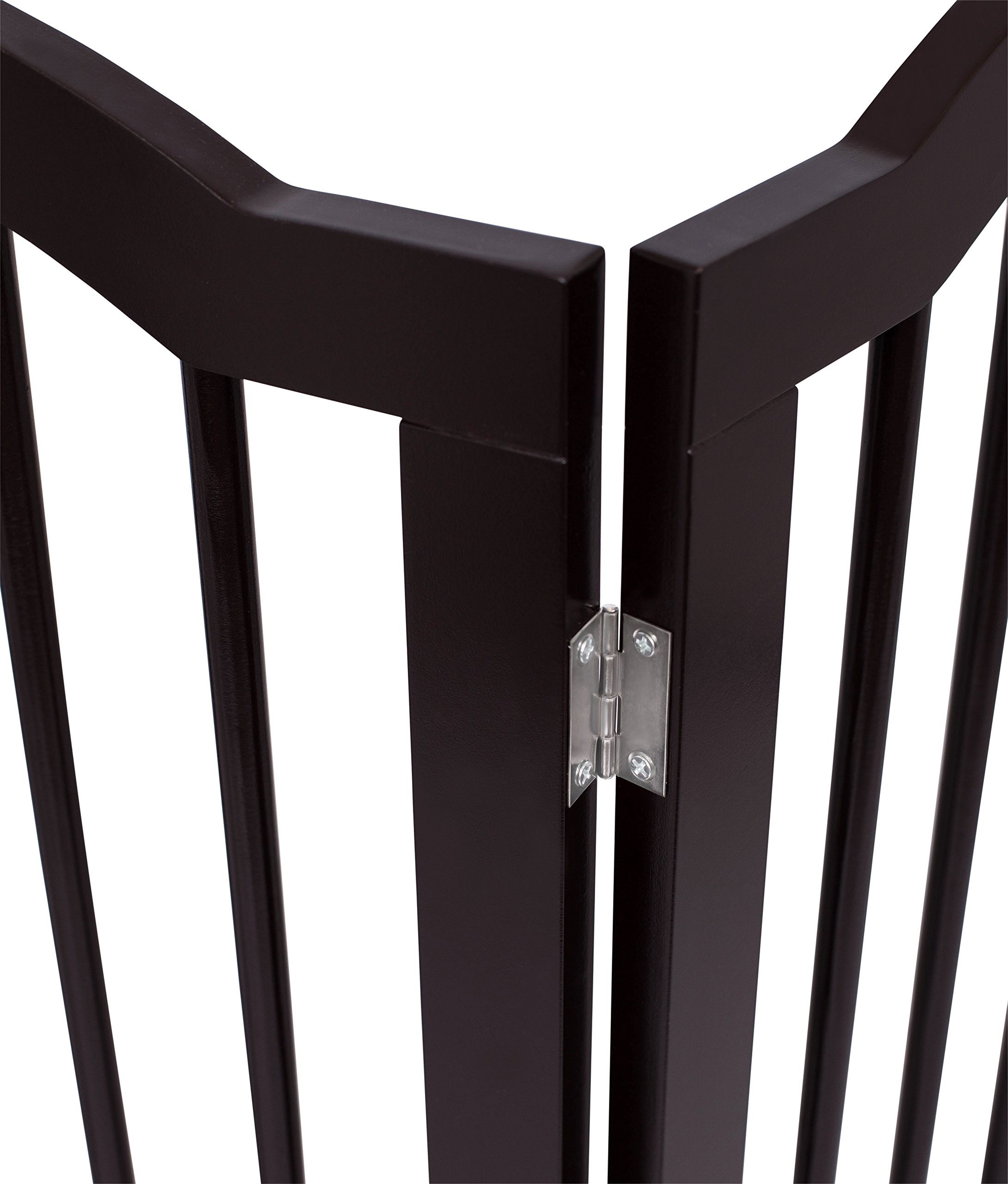 Internet's Best Pet Gate with Arched Top   4 Panel   36 Inch Tall Fence   Free Standing Folding Z Shape Indoor Doorway Hall Stairs Dog Puppy Gate   Fully Assembled   Espresso   Wooden by Internet's Best (Image #4)