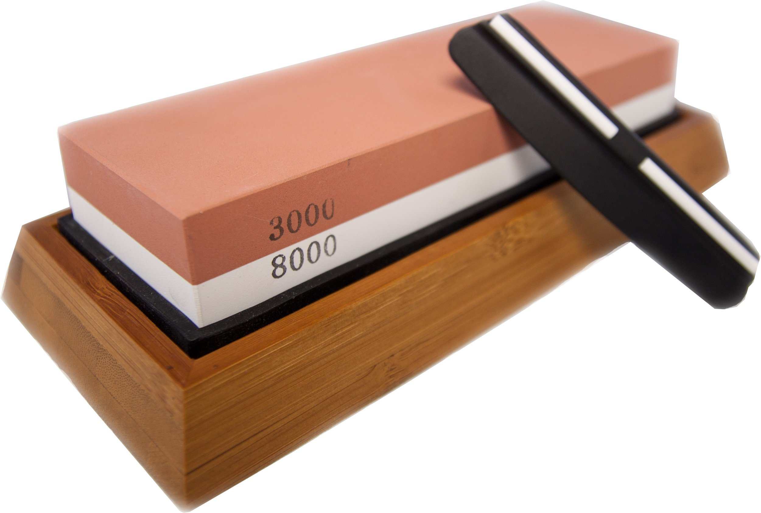 Whetstone Knife Sharpening Stone | Professional Grade | 3000 Grit for General Sharpening of Knives | 8000 Grit for Heavy Duty Knives | Non Slip Bamboo Base | Durable Guide for Precise Sharpening