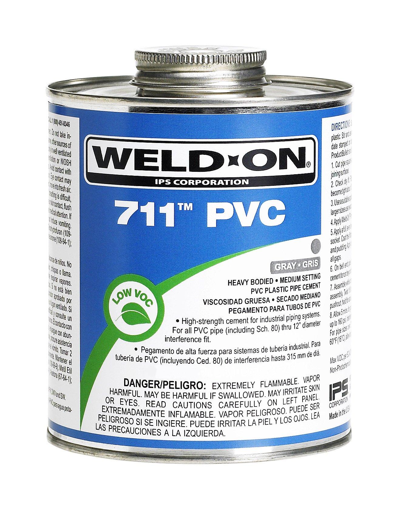 Weld-On 10121 Pint 711 Heavy Duty PVC Cement, Gray, 1-Pack