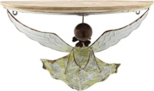 The Bridge Collection Rustic Metal Angel Half-Circle Accent Shelf