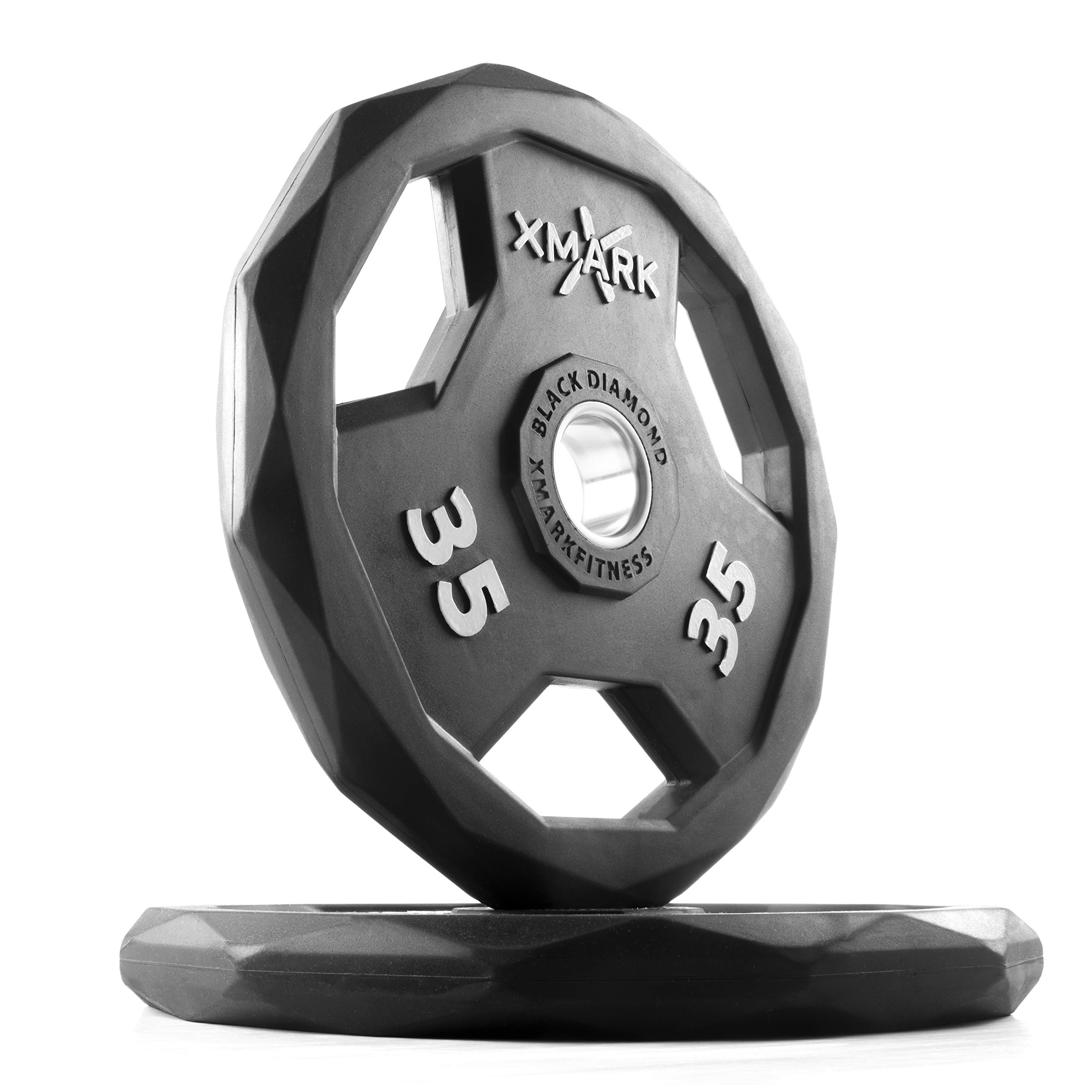 XMark Black Diamond 35 lb Pair Olympic Weight Plates, One-Year Warranty, Patented Design