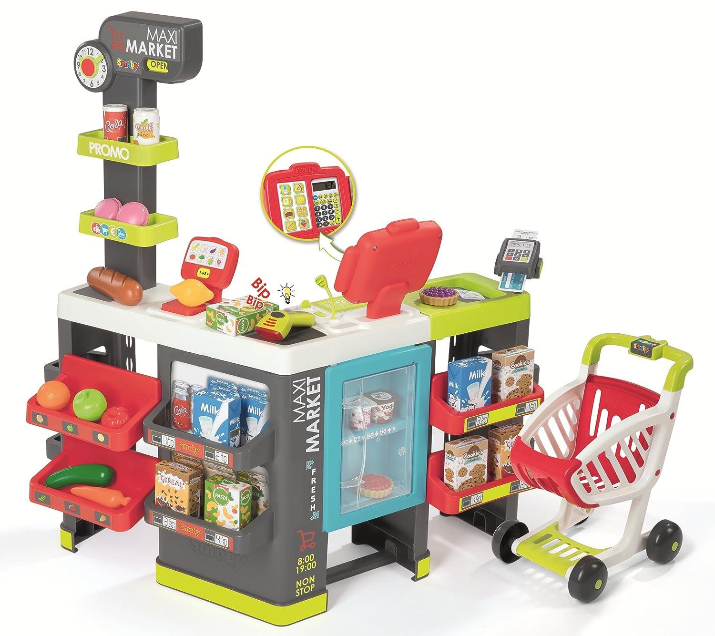 Smoby Maximarket Supermercado Juguete, Color Rojo, Verde y Azul (350215)