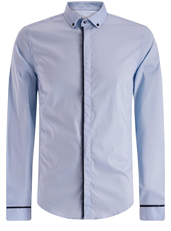 oodji Ultra Uomo Camicia Basic con Finitura a Contrasto RIFICZECH s.r.o. 3L140108M