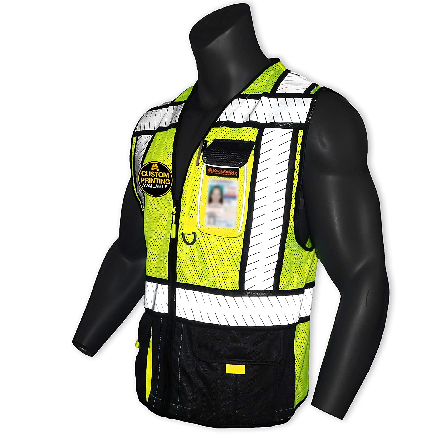 KwikSafety (Charlotte, NC) SPECIALIST (Multi-Use Pockets) Class 2 ANSI High Visibility Reflective Safety Vest Heavy Duty Solid/Mesh and with zipper HiVis Construction Surveyor Work Mens Black LARGE