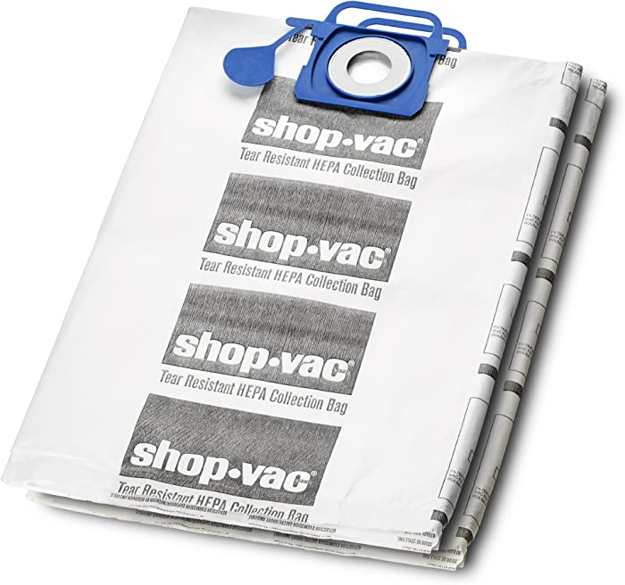 Shop-Vac 9021833 Genuine Hepa Tear Resistant Collection Filter Bags, 12-20 gallon, White