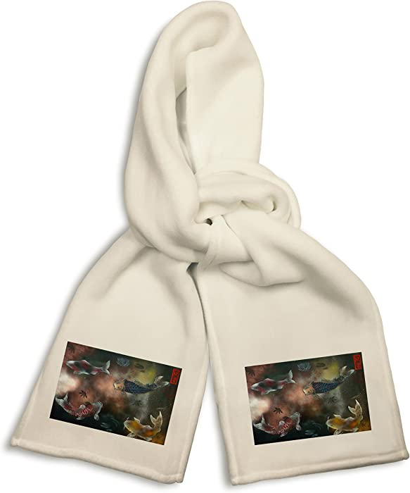 ebfd9b4ad6f61 Amazon.com  White Winter Scarf - Koi Fish Pond Mural Yuya Negishi YUYART   Clothing