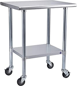 Rockpoint NSF Stainless Steel Commercial Kitchen Work Table with 4 Casters Wheels-30inch x 24inch