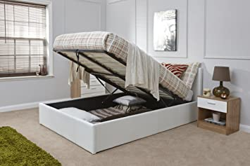 caspian ottoman gas lift up storage bed white 4ft small double