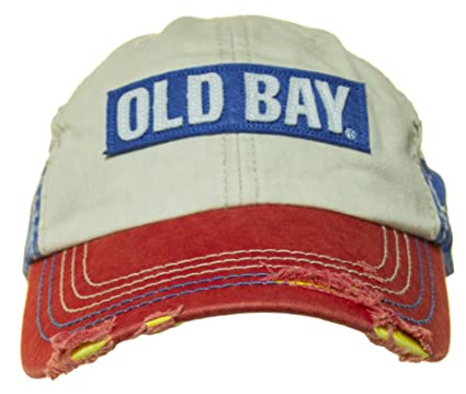 Amazon.com  Old Bay Distressed Logo Men s Baseball Cap Hat (one size ... 60efaf03f79