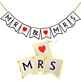 Wedding Decorations, Vintage Mr And Mrs Banner, Just Married Bunting Style Photo Booth Props, Rustic Bridal Shower Anniversary Party Supplies Mr. & Mrs. Bride Garland Table Centerpiece Flags Signs
