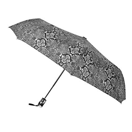 Amazon.com | BEBE One Touch Auto Open/Close Windproof Reinforced Canopy Umbrella | Fashion-Forward and Trendy Printed Metallic Umbrella (Black/White ...