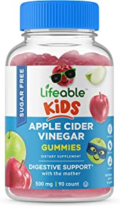 Lifeable Sugar Free Apple Cider Vinegar Gummies – ACV with The Mother - for Kids – 500 mg – Great Tasting Natural Flavor Vitamin Supplement – Gluten Free Vegetarian Chewable, for Children, 90 Gummies