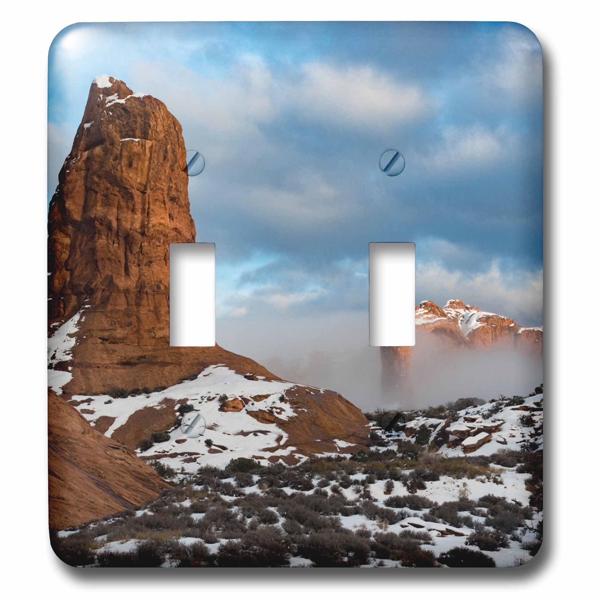 3dRose Danita Delimont - Utah - USA, Utah. Fog descending over eroded cliffs of the Windows Section - Light Switch Covers - double toggle switch (lsp_260317_2) by 3dRose