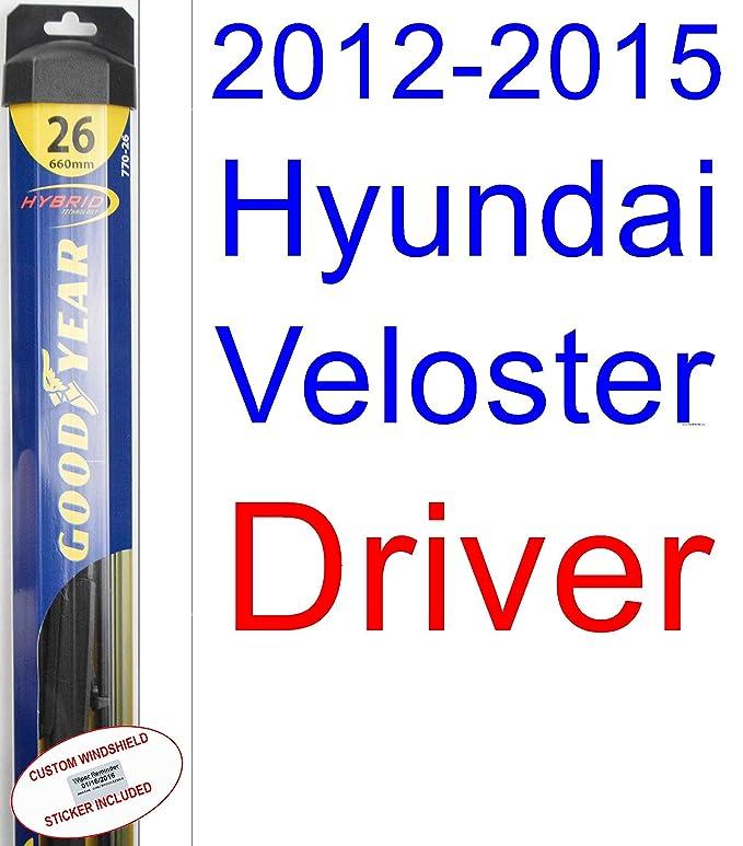 2012 - 2015 Hyundai Veloster hoja de limpiaparabrisas de repuesto Set/Kit (Goodyear limpiaparabrisas blades-hybrid) (2013,2014): Amazon.es: Coche y moto