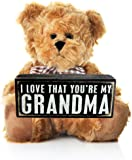 Grandma Gift from Grandson or Granddaughter for Birthday Mother's Day or Christmas - Grandmother Wooden Plaque Teddy Bear for Grandparents Perfect Sentimental Present for Nana