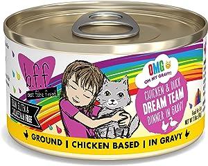 Weruva B.F.F. OMG - Best Feline Friend Oh My Gravy! Grain-Free Natural Wet Cat Food Cans, Chicken Recipes in Gravy