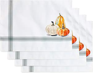AuldHome Fall Placemats (Set of 4); Thanksgiving & Halloween Pumpkin Themed Table Decor