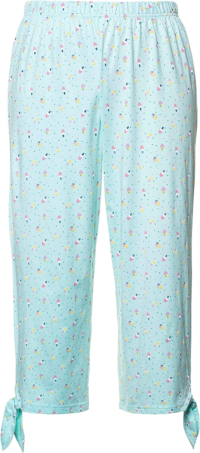 Ulla Popken Womens Plus Size Eco Cotton Ice Cream Print Lounge Capris 747815