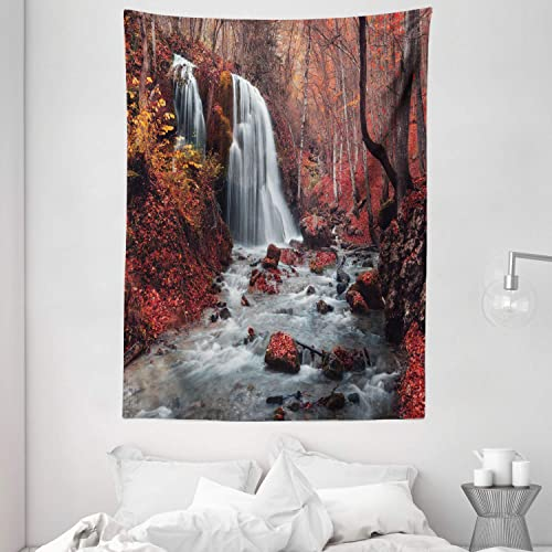 Ambesonne Waterfall Tapestry, Waterfall and Autumn Forest Grey Stream Fall Nature in Crimea, Wall Hanging for Bedroom Living Room Dorm, 60 X 80 , Dark Brown Paprika Orange