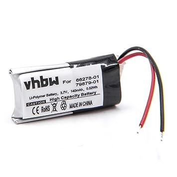 vhbw Litio Polímero Batería 140mAh (3.7V) para Auriculares inalámbricos como Plantronics 66278-