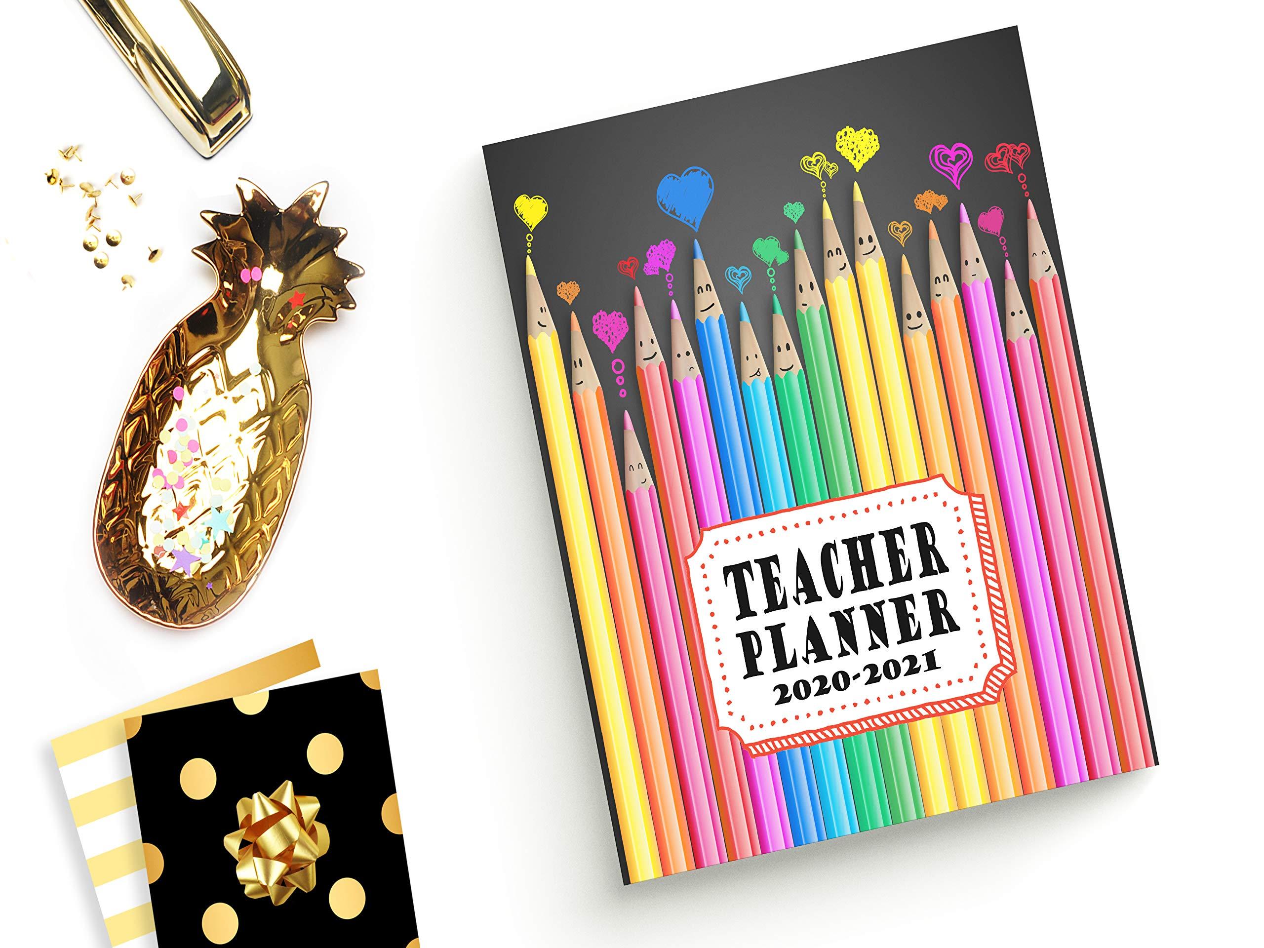 Teacher Planner: Vertical Academic Year Lesson Plan Calendar 8 Period Full Year Happy Colored Pencils (Lesson Plan Books For Teachers 2020-2021)