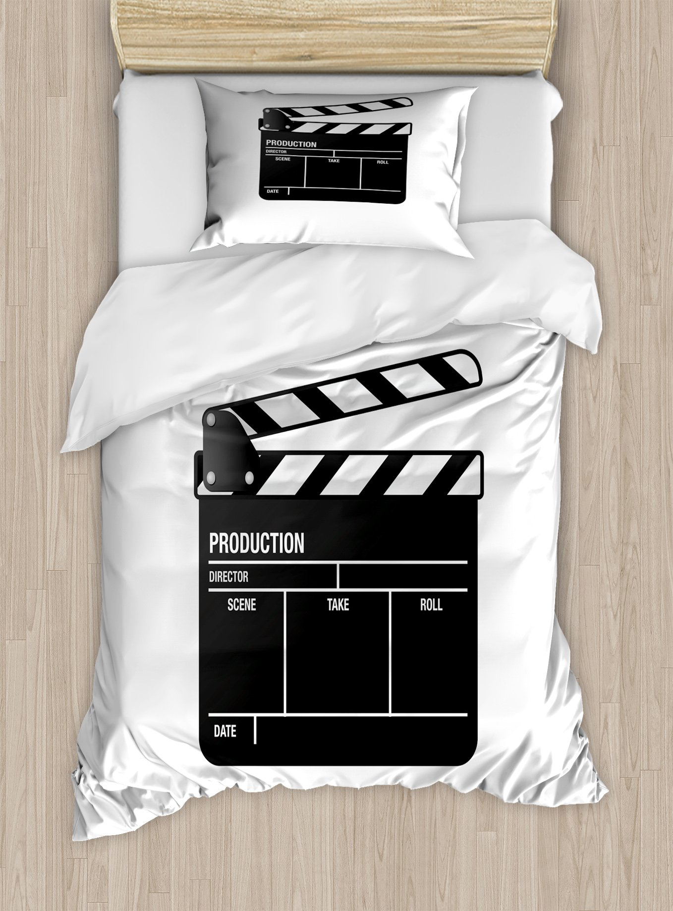 Ambesonne Movie Theater Twin Size Duvet Cover Set, Realistic Illustration of a Clapper Board Symbol for Film and Video Industry, Decorative 2 Piece Bedding Set with 1 Pillow Sham, Black White