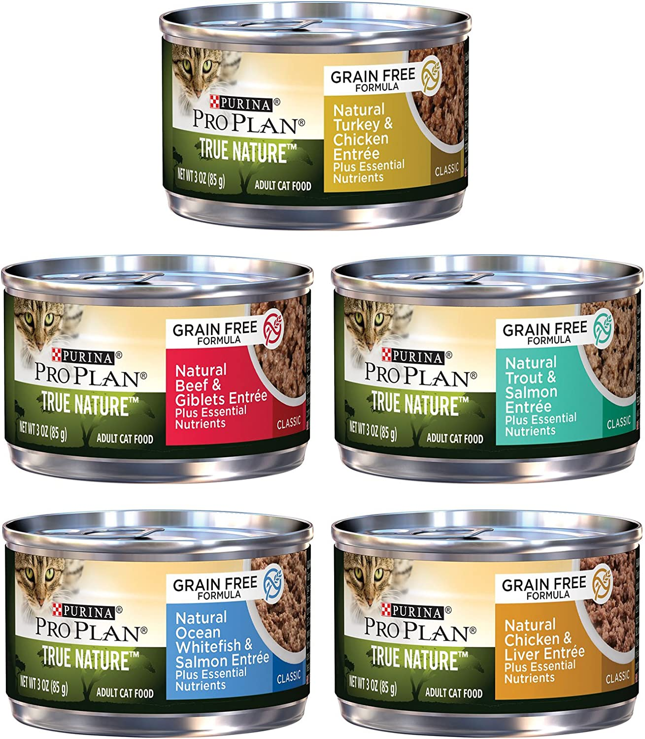 Purina Pro Plan True Nature Formulated Grain Free Cat Food Variety Pack, 5 Flavors, 3-Ounces Each