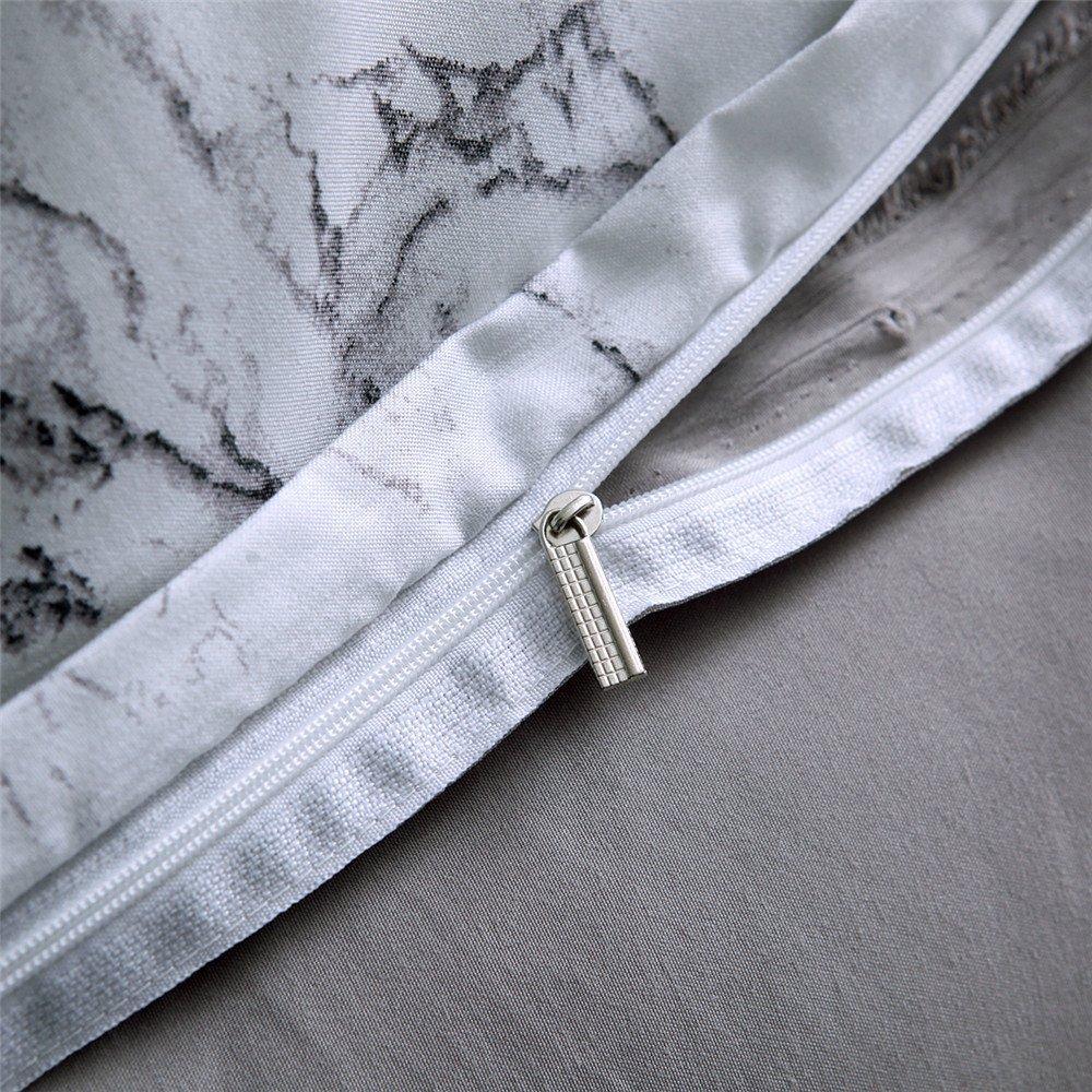 M0022-Black, Queen Duvet Cover Set Queen King Marble Pattern Printed White Soft Microfiber Bedding with Zipper Closure 1x Duvet Cover+2 Pillow Shames