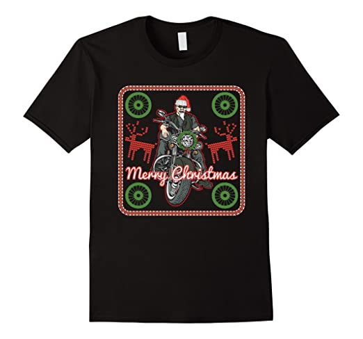 Merry Christmas Biker Motorcycle Ugly Sweater T-shirt