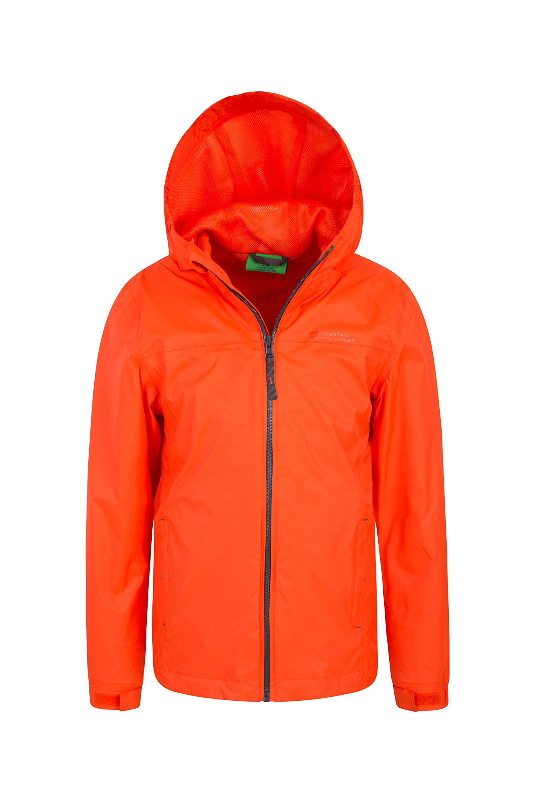 Mountain Warehouse Torrent Kids Jacket - Waterproof Rain Coat Orange 9-10 Years
