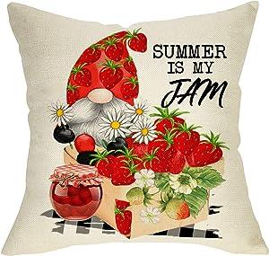 Fbcoo Strawberry Gnome Decorative Throw Pillow Cover, Summer is My Jam Cushion Case Decor, Buffalo Plaid Check Spring Daisy Flower Seasonal Farmhouse Home Pillowcase Decoration for Sofa Couch 18x18