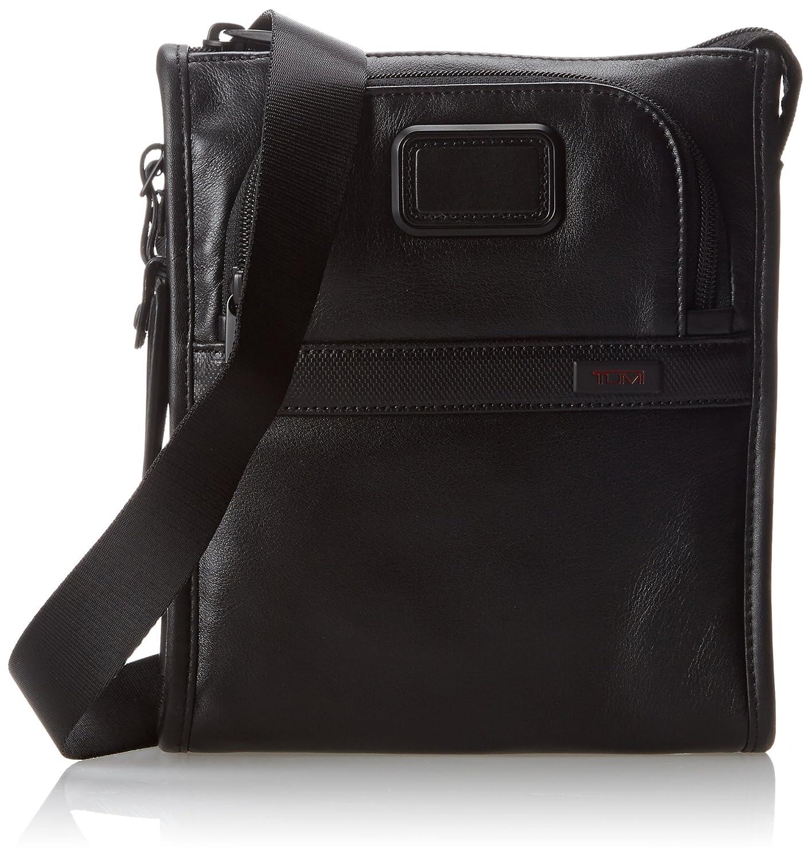 Amazon.com | Tumi Alpha 2 Leather Pocket Bag Small, Black, One ...