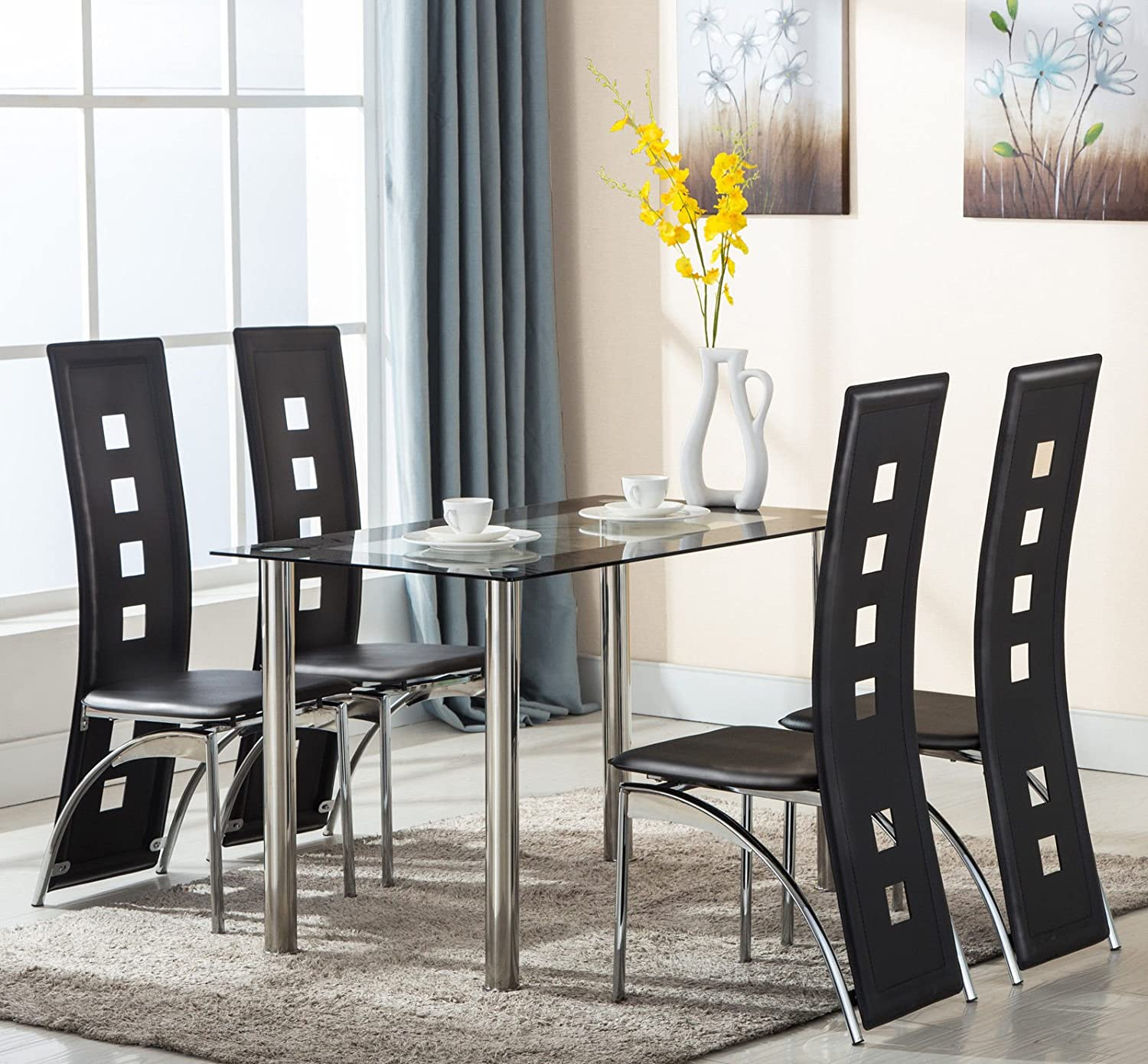 Amazon.com   Eight24hours 5 Piece Glass Dining Table Set 4 Leather Chairs  Kitchen Room Breakfast Furniture   Table U0026 Chair Sets