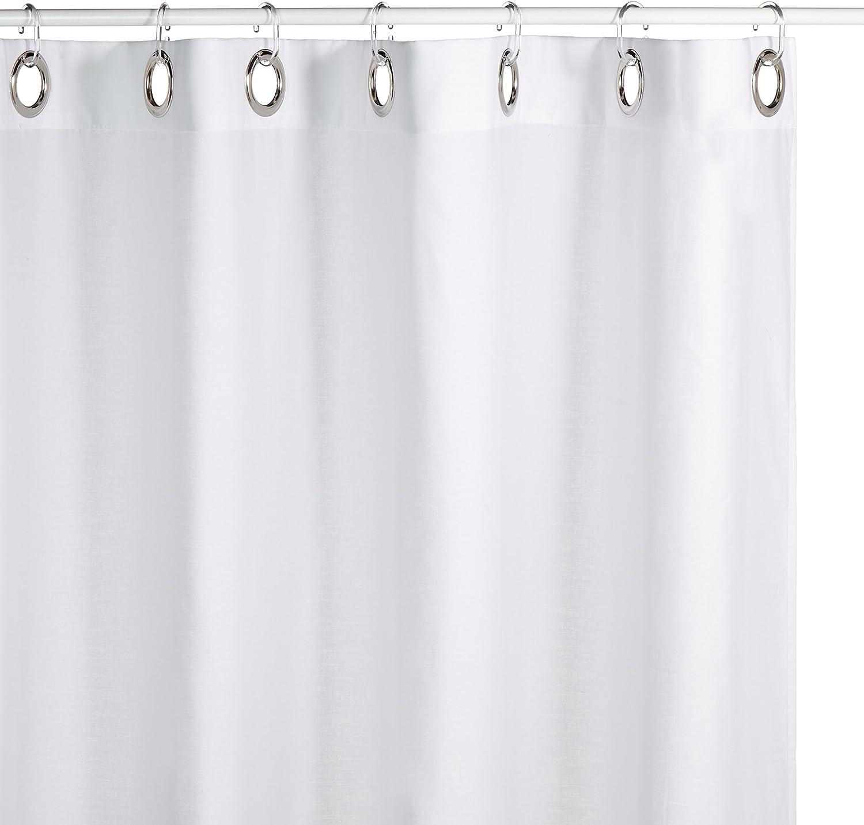 Breite x L/änge wei/ß Gr/ö/ße: Duschvorhang Textil Satin Streifen Farbe: Weiss BZW 180x150cm