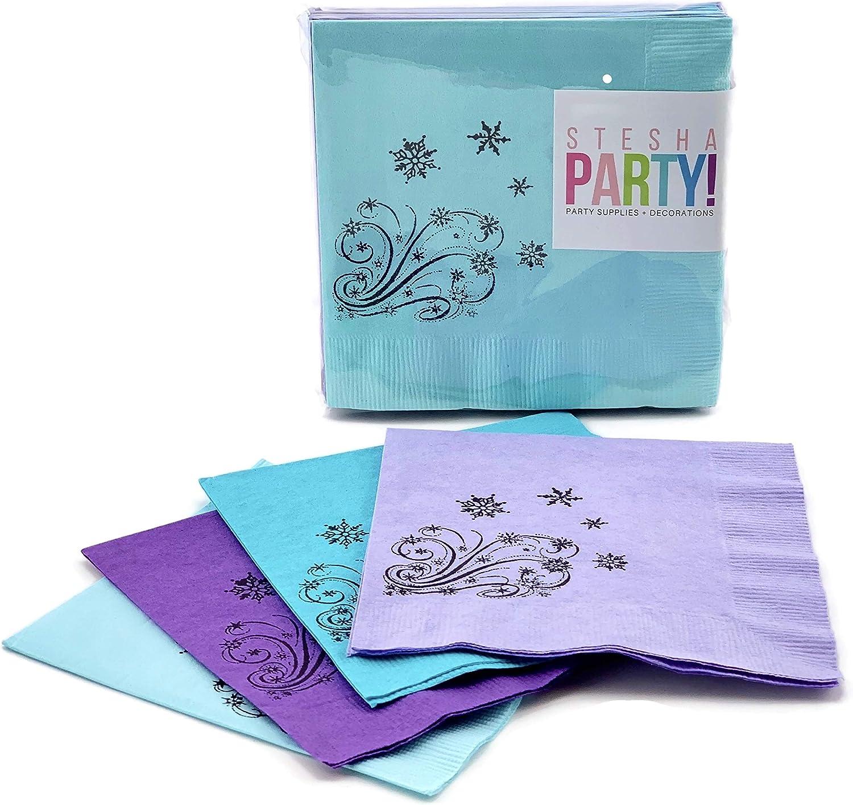 Snow Princess Ice Birthday Snowflake Party Paper Beverage Napkins (24 Pack)