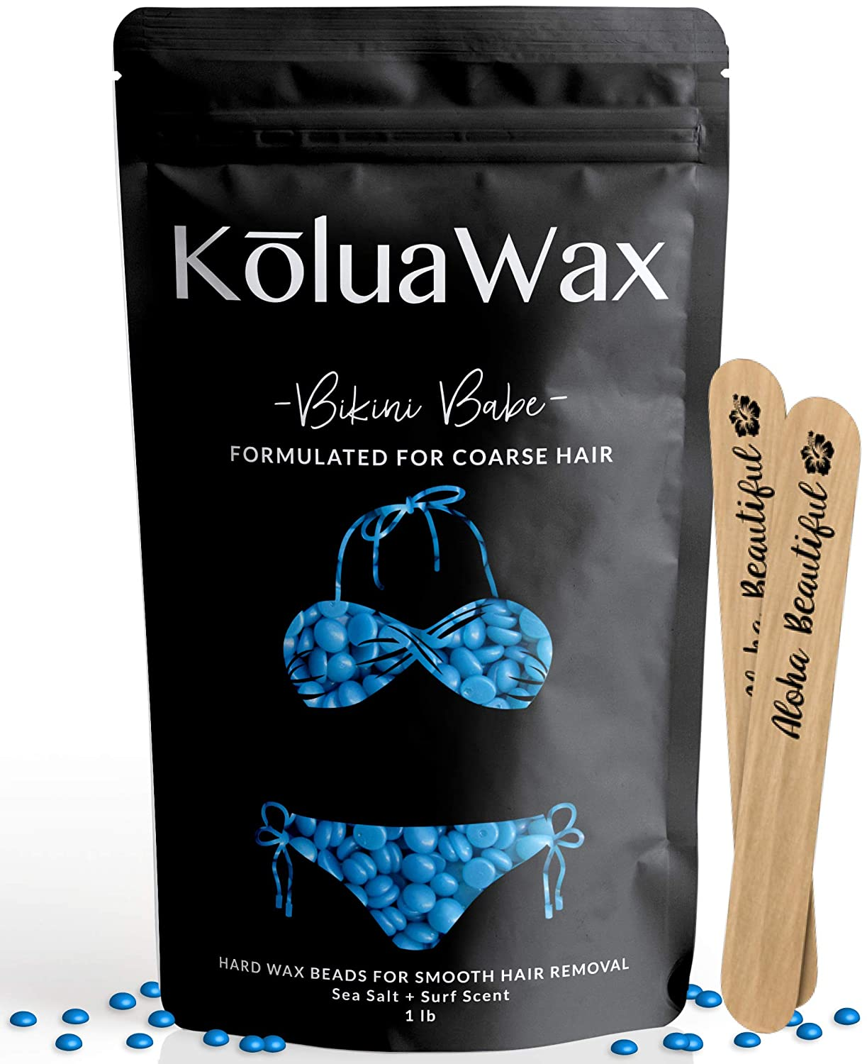 Hard Wax Beans for Painless Hair Removal (Coarse Body Hair Specific).Our Strongest Blue Bikini Babe by KoluaWax for Brazilian, Underarms, Back and Chest. Large Refill Pearl Beads for Wax Warmers.