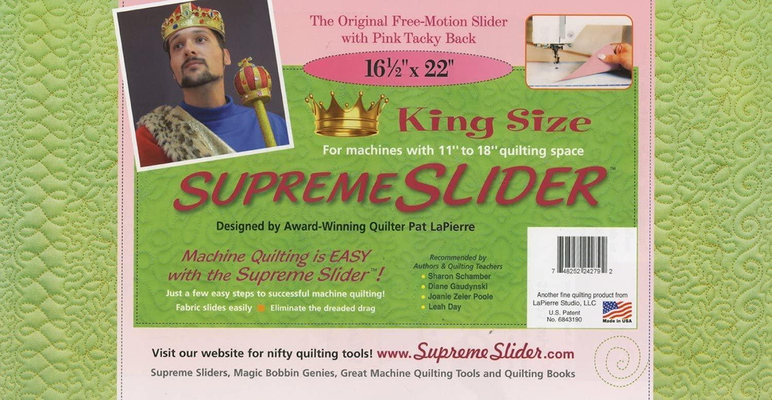 Supreme Slider King Size Free Motion Machine Quilting Mat: Improved Trimable Free-Motion Slider with Pink Tacky Back and Bigger Size (16.5 Inch X 22 Inch)
