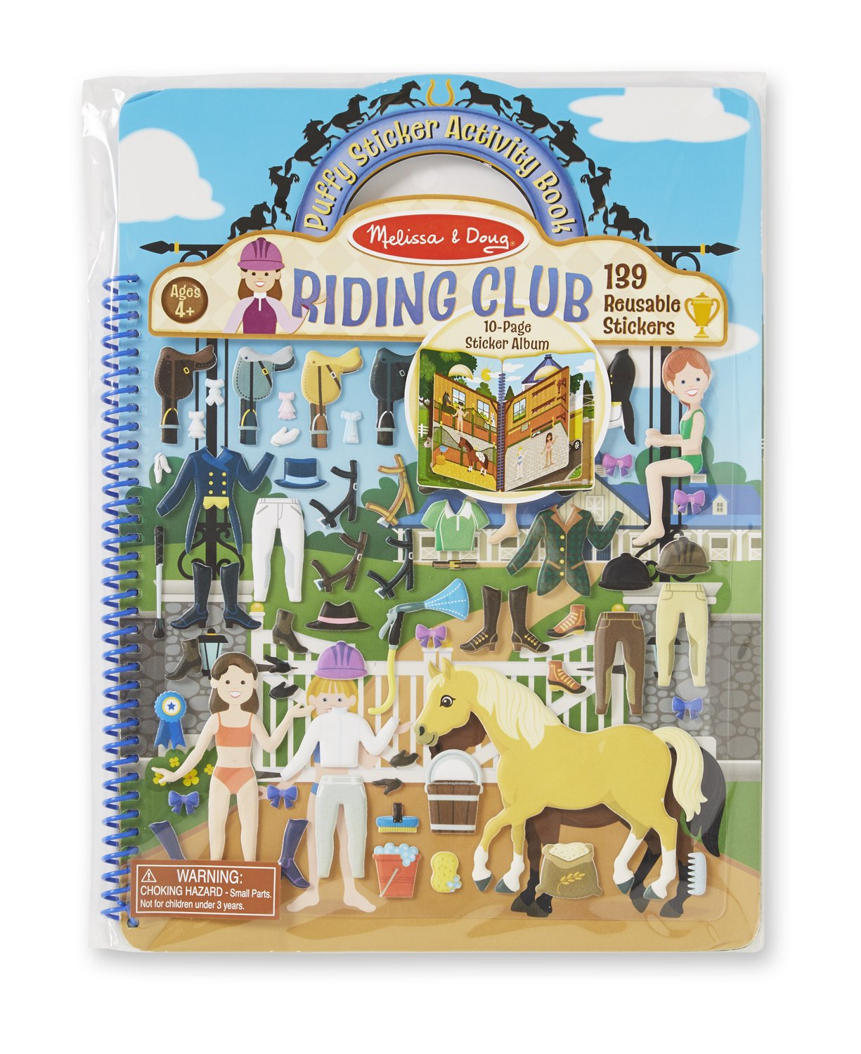 Melissa /& Doug Puffy Sticker Activity Book 139 Reusable Stickers 9410 Riding Club
