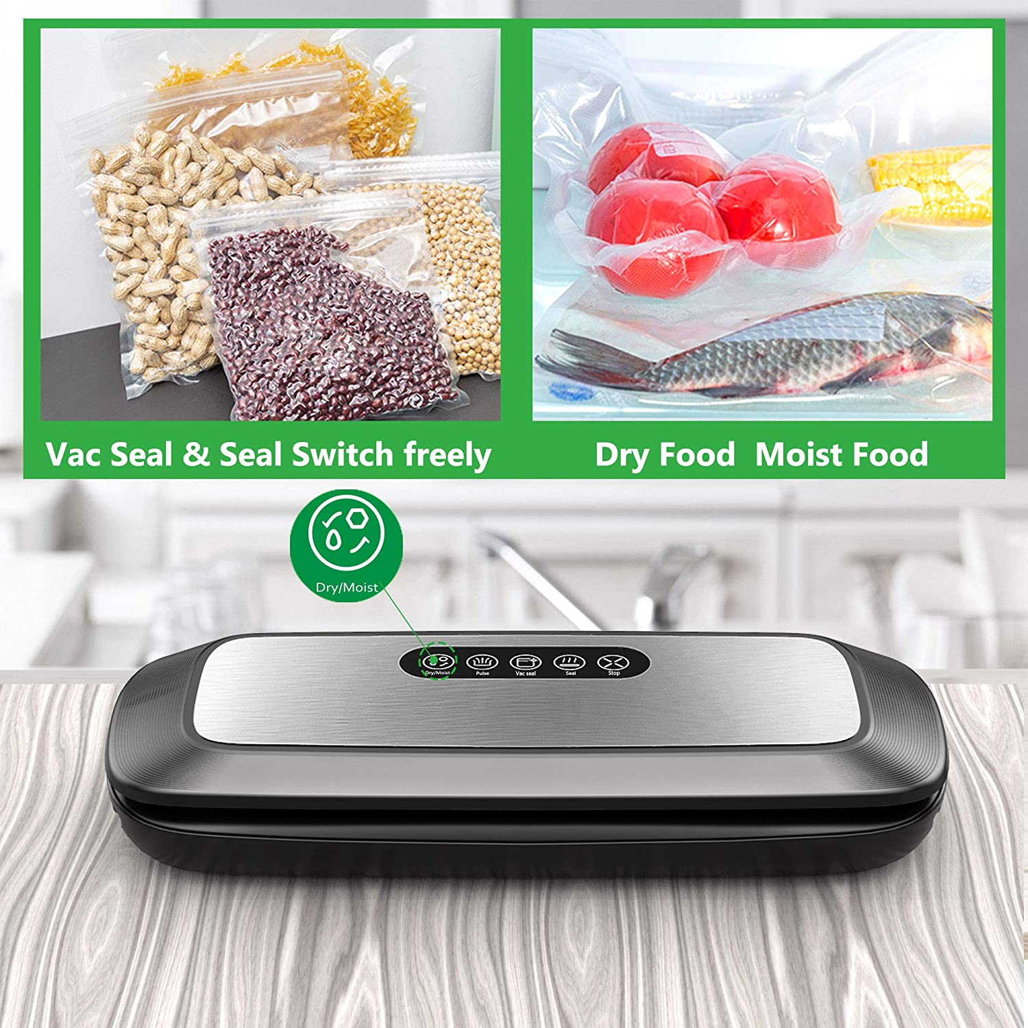 Vacuum Sealer Machine, Automatic Food Vacuum Sealer with Smart Stainless Steel Panel Touch Control, Sous Vide Vacuum Sealer Machine with Dry Moist Sealing and Starter Kit