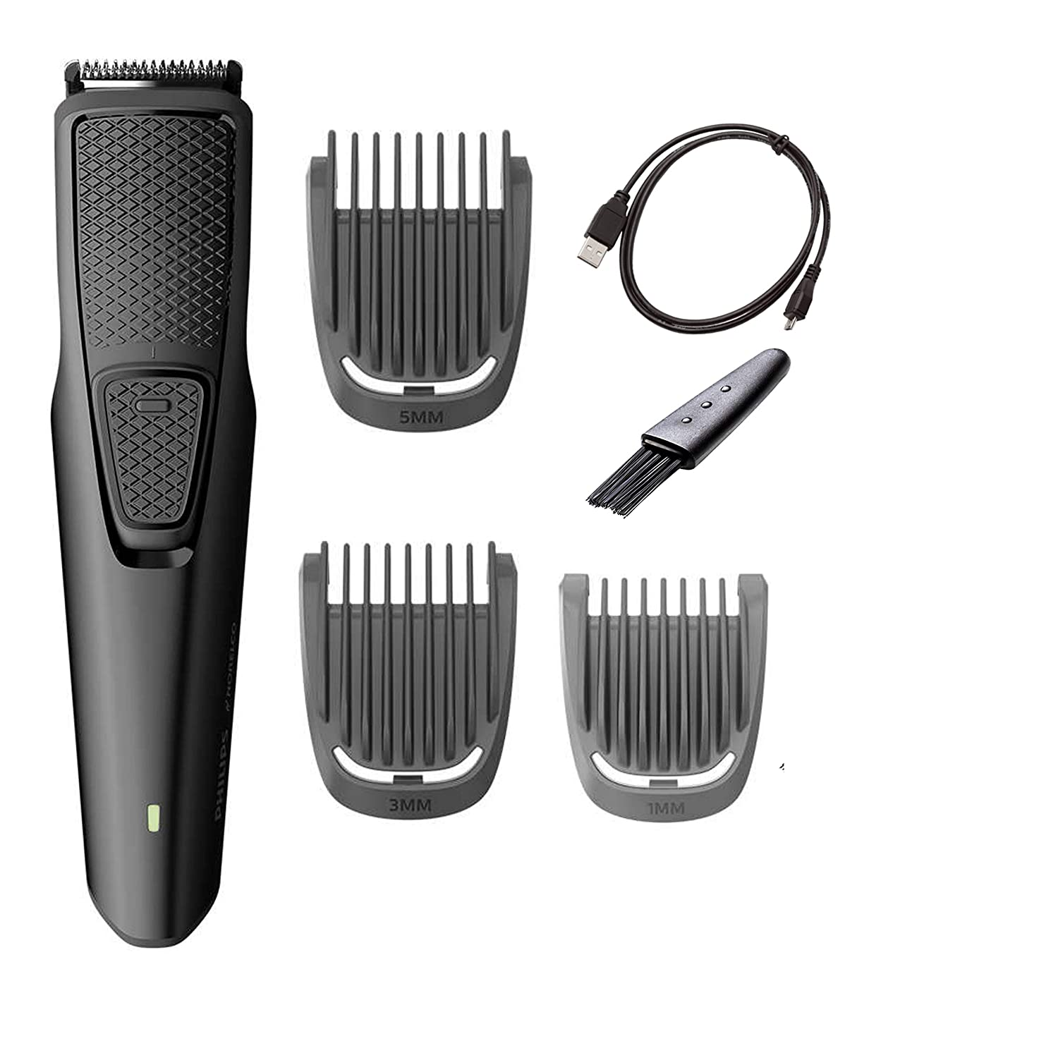 Philips Norelco Beard and Stubble Trimmer with 3 Attachments Cordless Hair Clipper Lightweight and USB Charging- Great for Travel