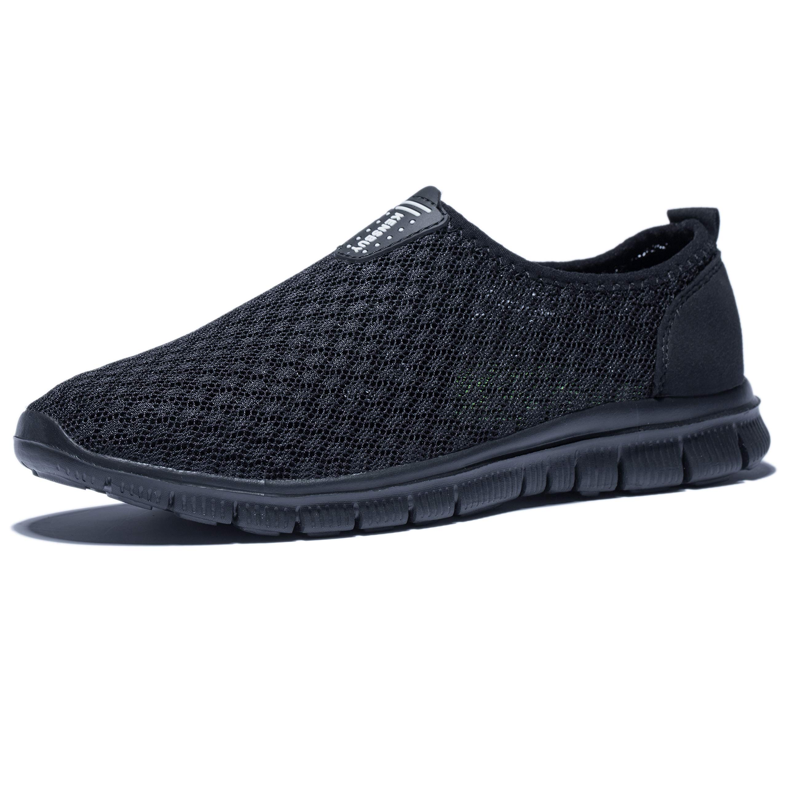 KENSBUY Mens Breathable and Durable Sports Running Shoes Lightweight Mesh Walking Sneakers (8 M US Men, Black/Black) by KENSBUY (Image #2)