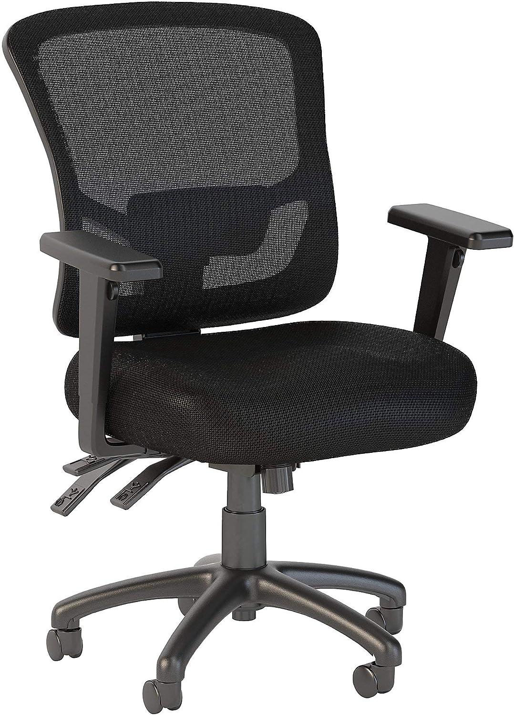 Bush Business Furniture Easy Office White Custom Comfort Mid Back Multifunction Mesh Manager's Chair, Black